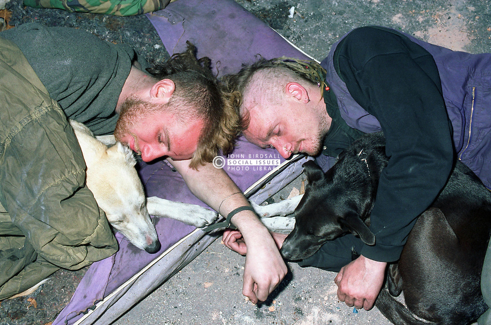 Two homeless men and their dogs sleeping rough on street pavement,