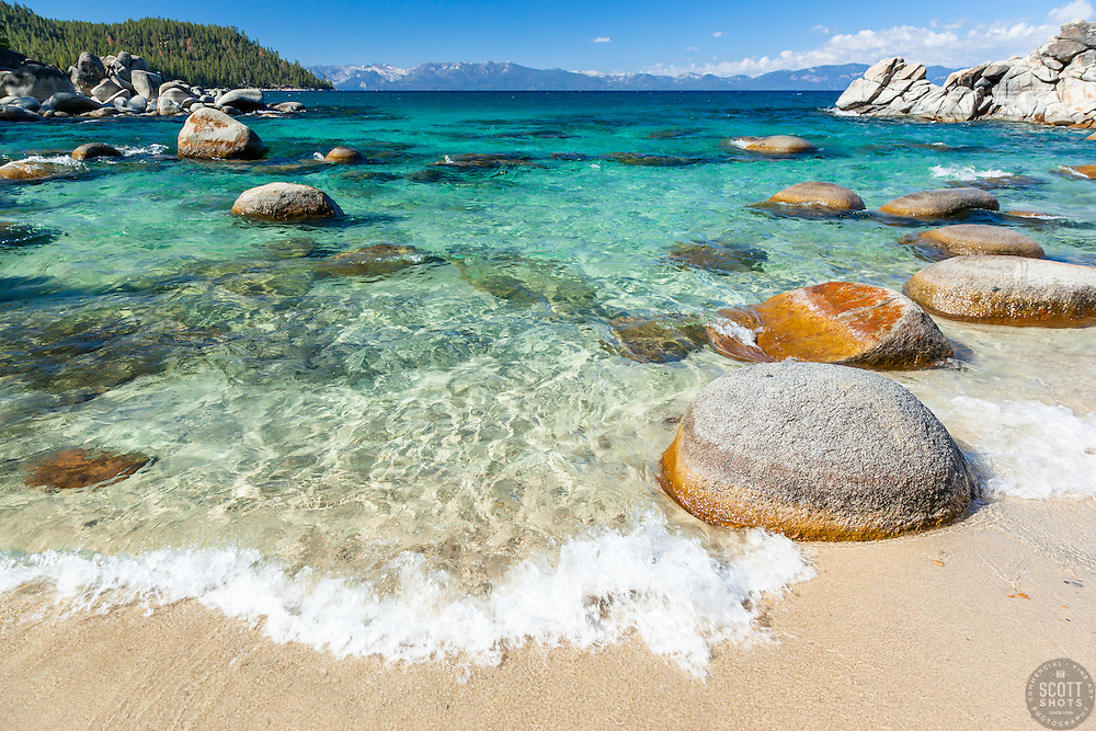 """""""Boulders at Secret Cove 2"""" - These boulders shoreline were photographed at Secret Cove on the East Shore of Lake Tahoe."""