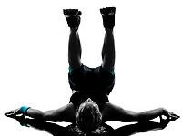 one woman exercising workout fitness aerobic exercise abdominals push ups posture on studio isolated white background