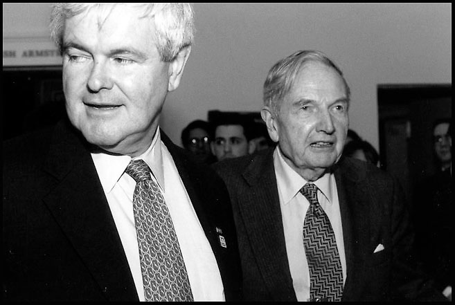 Newt Gingrich and David Rockefeller at a meeting in New York City.