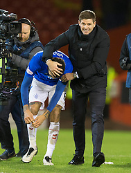 Rangers Steven Gerrard with Conor Goldson after the Ladbrokes Scottish Premiership match at Pittodrie Stadium, Aberdeen.