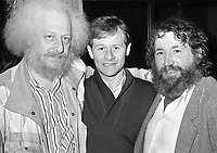 Barney McKenna(R) and Eamonn Campbell(L) of The Dubliners at the reception in Guinness to launch the film The Dubliner's Dublin, circa October 1988 (Part of the Independent Newspapers Ireland/NLI Collection).