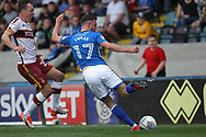 Bradden Inman shot is going to hit the post during the EFL Sky Bet League 1 match between Rochdale and Bradford City at Spotland, Rochdale, England on 21 April 2018. Picture by Daniel Youngs.