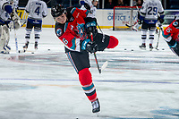 KELOWNA, BC - MARCH 11: Kaedan Korczak #6 of the Kelowna Rockets takes a shot during warm up against the Victoria Royals at Prospera Place on March 11, 2020 in Kelowna, Canada. (Photo by Marissa Baecker/Shoot the Breeze)