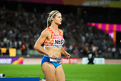 London, August 12 2017 . The Netherlands' Dafne Schippers ahead of the women's 4x100m relay on day nine of the IAAF London 2017 world Championships at the London Stadium. © Paul Davey.