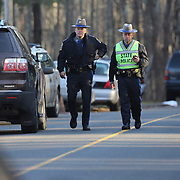 State Police near the fire station in Sandy Hook after today's shootings at Sandy Hook Elementary School, Newtown, Connecticut, USA. 14th December 2012. Photo Tim Clayton