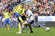 Birmingham City's Lee Novak shoots. Skybet football league championship match , Bolton Wanderers v Birmingham city at the Reebok stadium in Bolton on Saturday 3rd May 2014.<br /> pic by David Richards, Andrew Orchard sports photography.