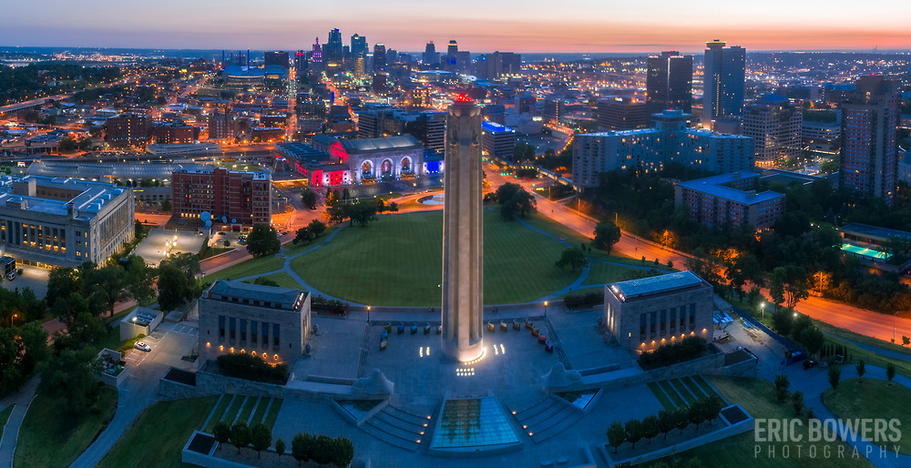 Panoramic aerial sunrise photo of Kansas City, Missouri near Liberty Memorial with view toward Union Station and downtown area.