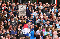 Football - Premier League - Manchester City Premier League Trophy Parade<br /> A Manchester City fan holds up an 'RIP Fergie' sign, which later ended up with Carlos Tevez of Manchester City