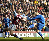 Photo: Richard Lane.<br /> Aston Villa v Birmingham City. Barclaycard Premiership. 22/02/2004.<br /> Mikael Forssell fires in Birmingham's first goal.