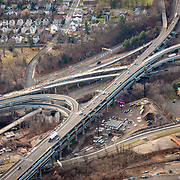 The intersection of interstate 84 and CT route 8 in Waterbury, CT.