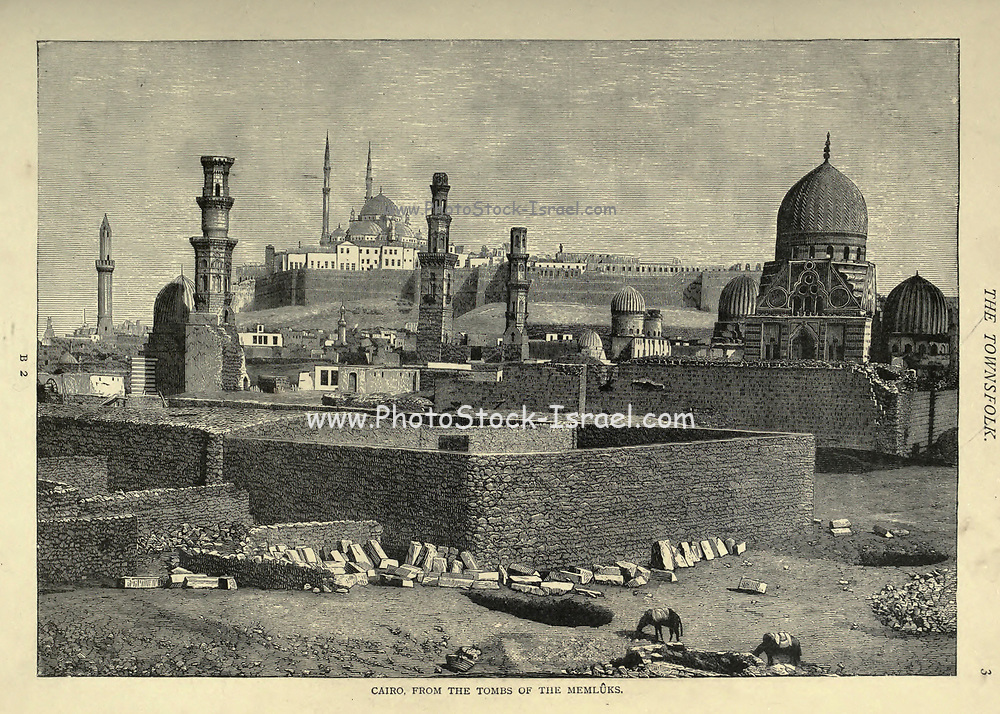 wood engraving of Cairo from the tombs of Memluks [Mamluk] From the book 'Picturesque Palestine, Sinai and Egypt : social life in Egypt; a description of the country and its people' with illustrations on Steel and Wood by Wilson, Charles William, Sir, 1836-1905; Lane-Poole, Stanley, 1854-1931. Published by J.S. Virtue in London in 1884