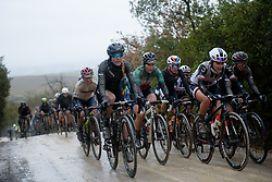 Hannah Barnes & Elisa Longo Borghini at Strade Bianche - Elite Women 2018 - a 136 km road race on March 3, 2018, starting and finishing in Siena, Italy. (Photo by Sean Robinson/Velofocus.com)