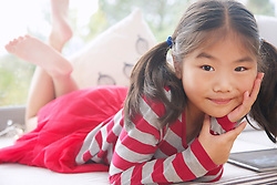 Portrait of Young Girl Wearing Stripy T-shirt