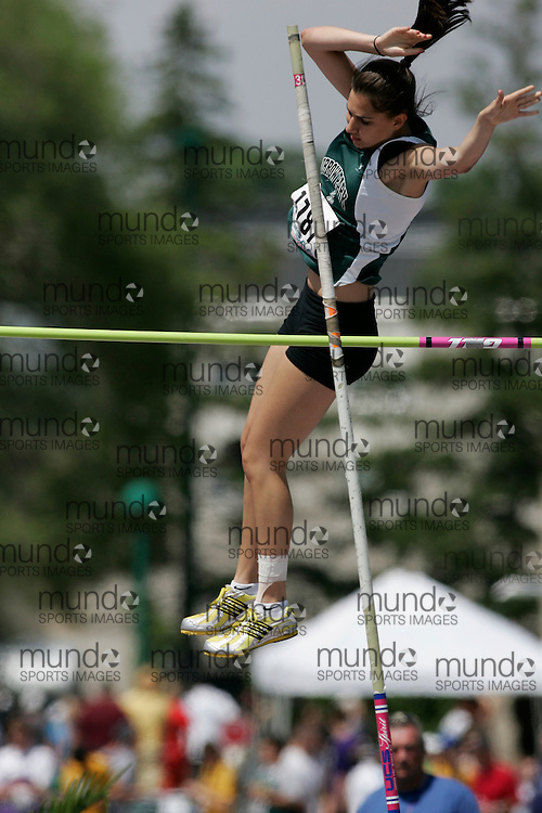 (London, Ontario}---04 June 2010) Alessandra Tartaglia of St. Joseph Morrow Park  - Will competing in the pole vault at the 2010 OFSAA Ontario High School Track and Field Championships in London, Ontario, June 04, 2010 . Photograph copyright Laura Barclay / Mundo Sport Images, 2010.
