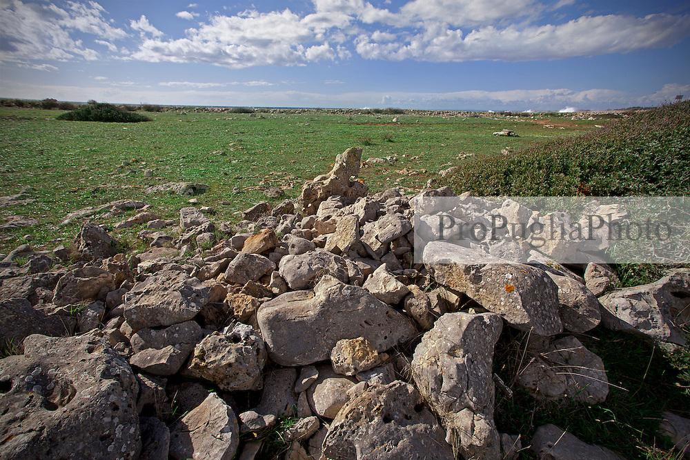 Sentieri di campagna che si affacciano sul mare nei pressi di S. Isidoro, frazione di Nardò (Lecce). Questi tipi di scorci si possono incontrare per tutta la costa jonica salentina che va da Torre Colimena (Taranto) a Gallipoli (Lecce).