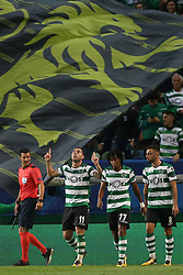 October 31, 2017 - Lisbon, Portugal - Sporting's midfielder Bruno Cesar from Brazil (11) celebrates with teammates after scoring during the UEFA Champions League football match Sporting CP vs Juventus at the Alvalade stadium in Lisbon, Portugal on October 31, 2017. Photo: Pedro Fiuza  (Credit Image: © Pedro Fiuza/NurPhoto via ZUMA Press)