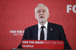© Licensed to London News Pictures. 26/05/2017. London, UK. Labour party leader Jeremy Corbyn re-starts his election campaign with a speech in Westminster. All election campaigning was stopped as a mark of respect for the victims of Monday's terror attack in Manchester in which 22 people died. Photo credit: Peter Macdiarmid/LNP