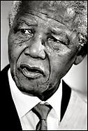 Nelson Mandela fotograferet under sit officielle besøg i Danmark i 1999