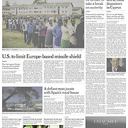 """Tearsheet of """"Boom Over, St. Patrick's Isle Is Slithering Again"""" published in The International Herald Tribune (Front Page)"""