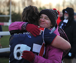 Poppy Leitch of Bristol Ladies hugs her mother after defeating Worcester Valkyries - Mandatory by-line: Paul Knight/JMP - 04/12/2016 - RUGBY - Cleve RFC - Bristol, England - Bristol Ladies v Worcester Valkyries - RFU Women's Premiership