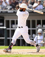 CHICAGO - AUGUST 25:  Danny Santana #38 of the Texas Rangers bats against the Chicago White Sox during Players Weekend on August  25, 2019 at Guaranteed Rate Field in Chicago, Illinois.  (Photo by Ron Vesely)  Subject:   Danny Santana