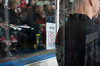 KELOWNA, CANADA - APRIL 18: A fan sign is posted on the glass behind the bench of the Portland Winterhawks on April 18, 2014 during Game 1 of the third round of WHL Playoffs at Prospera Place in Kelowna, British Columbia, Canada.   (Photo by Marissa Baecker/Shoot the Breeze)  *** Local Caption *** fan; sign;