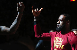 April 29, 2018 - Cleveland, OH, USA - Cleveland Cavaliers forward LeBron James does a handshake with teammate J.R. Smith before the start of Game 7 against the Indiana Pacers during the Eastern Conference First Round series on Sunday, April 29, 2018 at Quicken Loans Arena in Cleveland, Ohio. The Cavs won the game, 105-101. (Credit Image: © Leah Klafczynski/TNS via ZUMA Wire)