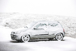 © Licensed to London News Pictures. 02/03/2016. Ingleton UK. Drivers faced treacherous conditions on the roads around Ingleton in the Yorkshire Dales this morning after last night's heavy snow fall.  Photo credit: Andrew McCaren/LNP