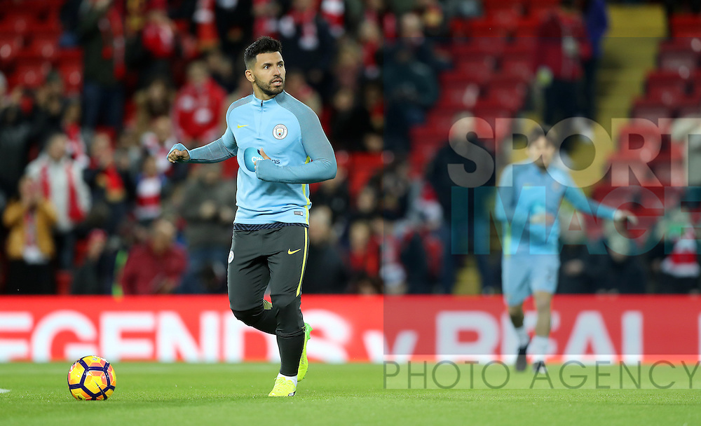 Sergio Aguero of Manchester City before the English Premier League match at Anfield Stadium, Liverpool. Picture date: December 31st, 2016. Photo credit should read: Lynne Cameron/Sportimage