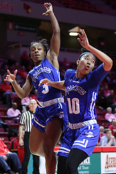 NORMAL, IL - February 10: Ashli O'Neal and Tamara Lee during a college women's basketball Play4Kay game between the ISU Redbirds and the Indiana State Sycamores on February 10 2019 at Redbird Arena in Normal, IL. (Photo by Alan Look)