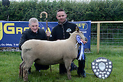 Padraig Monaghan (right) of Belmullet  with his prize winning Vindéen Sheep and competition judge Brian Banhanthorn attending 'SHEEP2015', the major National Sheep Open Day hosted by Teagasc at Athenry on Saturday. Photo:- Andrew Downes / xposure.ie  No Fee. Issued on behalf of Teagas