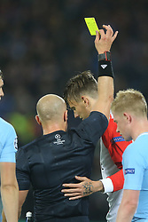 referee Szymon Marciniak, Michiel Kramer of Feyenoord during the UEFA Champions League group F match between Feyenoord Rotterdam and Manchester City at the Kuip on September 13, 2017 in Rotterdam, The Netherlands