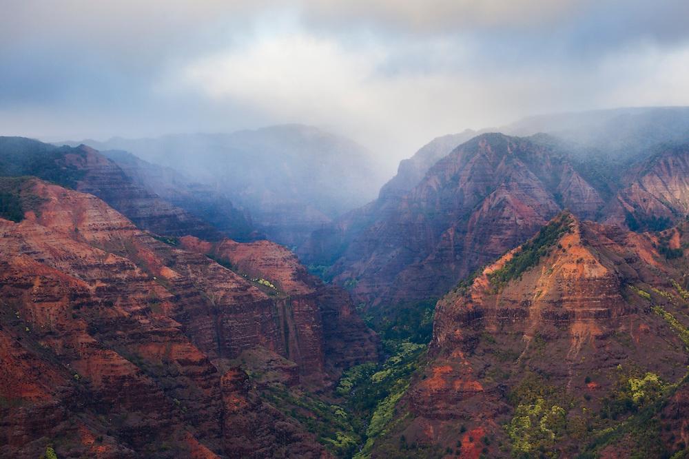 View into Waimea Canyon from the Waimea Canyon Lookout, Waimea Canyon State Park, Kauai, Hawaii.