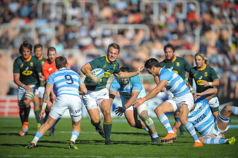 August 25, 2018. Malvinas Argentinas Stadium, Mendoza, Argentina.<br /> ANDRE ESTERHUIZEN running with the ball against argentine defense.