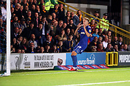 AFC Wimbledon striker Joe Pigott (39) with head in hands after miss during the EFL Sky Bet League 1 match between AFC Wimbledon and Bradford City at the Cherry Red Records Stadium, Kingston, England on 2 October 2018.