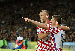 October 9, 2017 - Kiev, Ukraine - Andrej Kramaric of Croatia (9) celebrates with Ivan Perisic of Croatia as he scores their first goal during the FIFA 2018 World Cup Group I Qualifier between Ukraine and Croatia at Kiev Olympic Stadium on October 9, 2017 in Kiev, Ukraine. Ukraine fail to reach the play-offs as they lose 2-0. (Credit Image: © Sergii Kharchenko/NurPhoto via ZUMA Press)