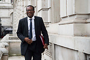 Kwasi Kwarteng MP, Minister of State at the Department of Business, Energy and Industrial Strategy arriving at the Cabinet office in London, United Kingdom on 16th August 2019.