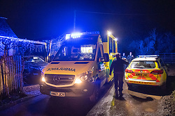 "© Licensed to London News Pictures.  03/01/2021. Reading, UK. Emergency services at the scene on Gravel Hill. Paramedics and police have responded to a ""serious incident"" in Reading on Sunday evening, forensic investigators were seen gathering evidence from an ambulance outside a property on Gravel Hill, reports that a teenager had been stabbed are yet to be confirmed by police. Credit: Peter Manning/LNP"