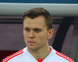 March 27, 2018 - Saint-Petersburg, Russia - Russian Federation. Saint-Petersburg. Arena Saint-Petersburg. Zenit-Arena. Football. Russia - France, Friendly match 1: 3. The football World Cup. The player of national team of Russia on football..Denis Cheryshev; (Credit Image: © Russian Look via ZUMA Wire)