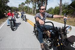 Ben Jordan of Waxhaw, NC rides his custom 1947 Harley-Davidson Knucklehead through Tamoka State Park during Daytona Beach Bike Week  2015. FL, USA. Friday, March 13, 2015.  Photography ©2015 Michael Lichter.