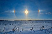 Sundogs and prairie landscape<br />Grande Pointe<br />Manitoba<br />Canada