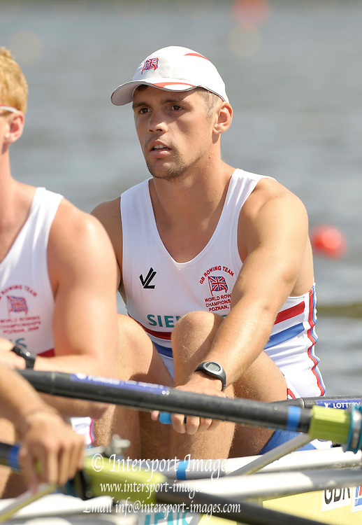 Poznan, POLAND,  GBR M4X, Bow Brendan CREAN, M, competing in a heat one of the men's quadruple scull, on the Second day of the, 2009 FISA World Rowing Championships. held on the Malta Rowing lake, Monday  24/08/2009 [Mandatory Credit. Peter Spurrier/Intersport Images]