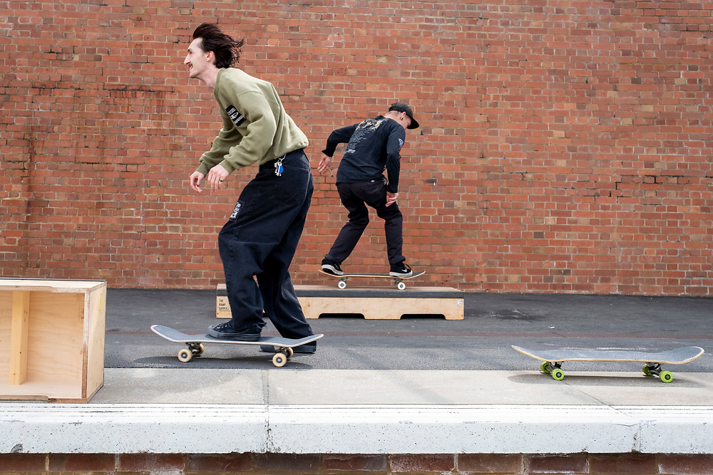 People skateboarding at an event organised by Folkestone 51 called Pier Pressure, on Folkestone Harbour Arm, on the 31st of August 2021, Folkestone, United Kingdom. (Photo by Andy Aitchison)