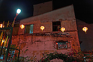 Lanterns hang in a yard in front of Phuoc An Hoi Quan Pagoda, Cholon, Ho Chi Minh City, Vietnam, Southeast Asia