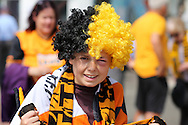 a young Hull City fan in fancy dress outside Wembley Stadium before k/o. Skybet football league Championship play off final match, Hull city v Sheffield Wednesday at Wembley Stadium in London on Saturday 28th May 2016.<br /> pic by John Patrick Fletcher, Andrew Orchard sports photography.