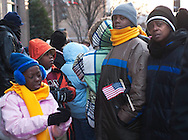 Students from Knox Elementary School in Selma, Ala. wait for instructions Jan. 20, 2009 as they head to the National Mall in Washington D.C. to see President Barack Obama's inauguration. The students traveled from Selma to Washington for the event, after spending nearly a year saving money. (Photo by Carmen K. Sisson/Cloudybright)