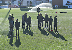 Charlton Athletic players inspect the pitch up on arrival