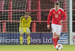 WREXHAM, WALES - Thursday, November 10, 2016: Wales' players dejected after Greece score their second goal during the UEFA European Under-19 Championship Qualifying Round Group 6 match at the Racecourse Ground. (Pic by Gavin Trafford/Propaganda)