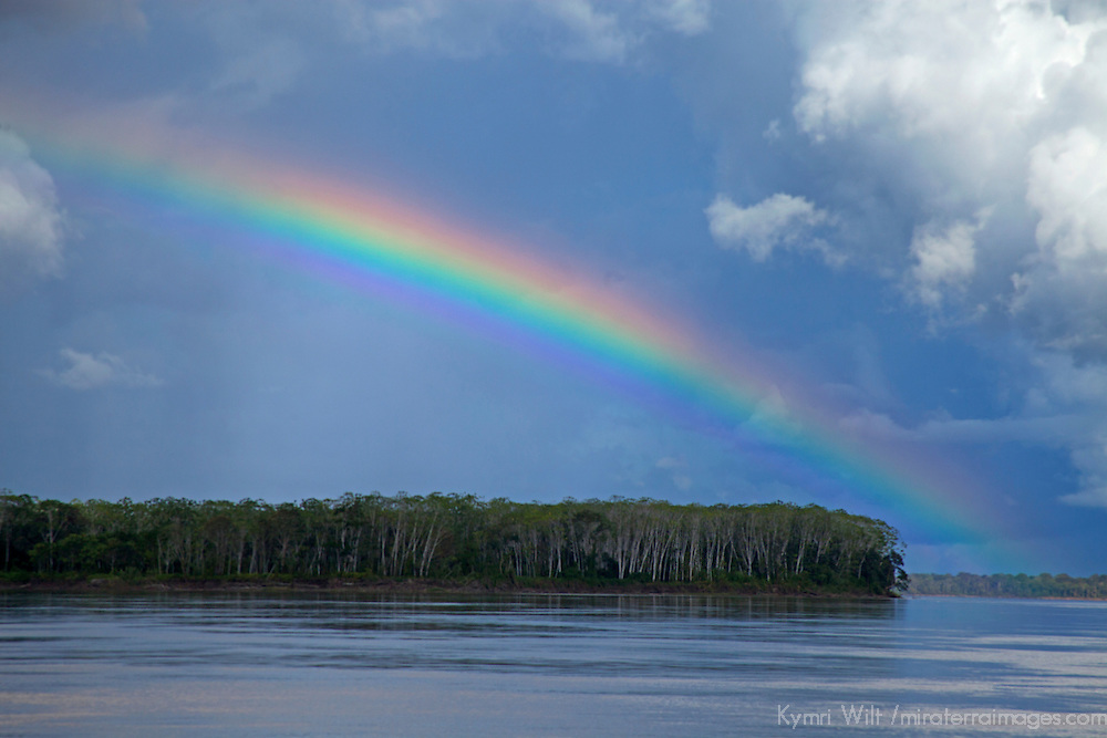 South America, Peru, Amazon. Peruvian Amazon rainbow.